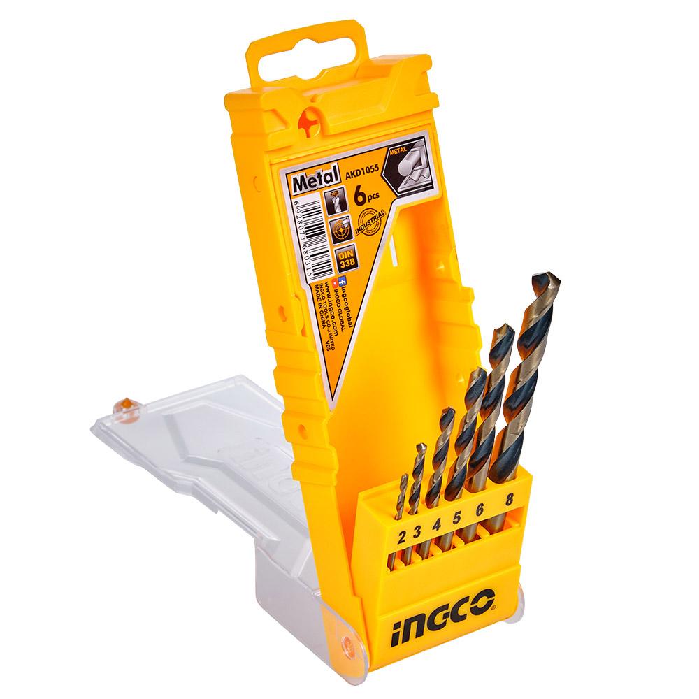 Купить Набір свердел по металу 6 шт. 2–8 мм, коробка INGCO