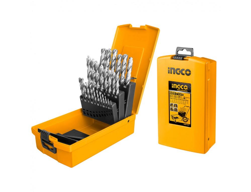 Набір свердел M2 по металу 25 шт. 1–13 мм INGCO