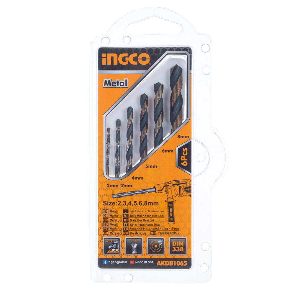 Купить Набір свердел по металу 6 шт. 2–8 мм, блістер INGCO
