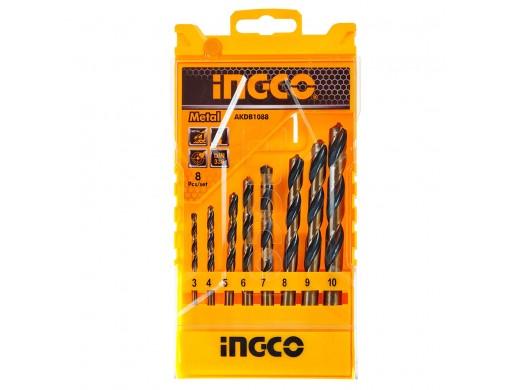 Набір свердел по металу 8 шт. 3–10 мм INGCO