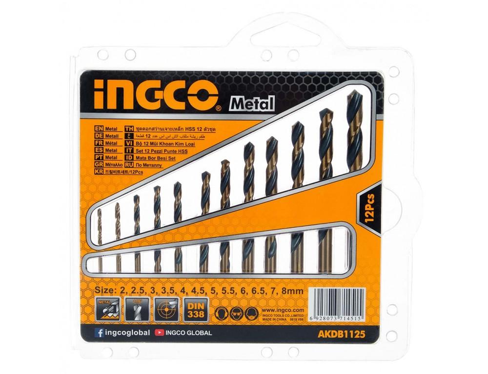 Набір свердел по металу 12 шт. 2–8 мм INGCO
