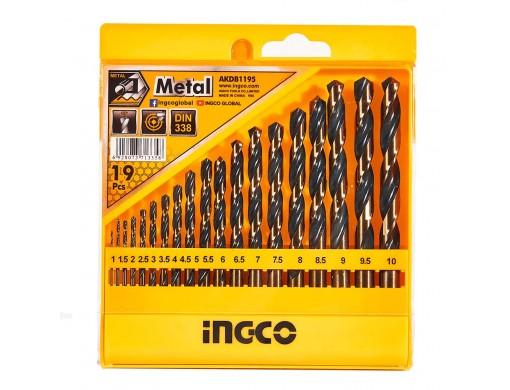 Набір свердел по металу 19 шт. 1–10 мм INGCO