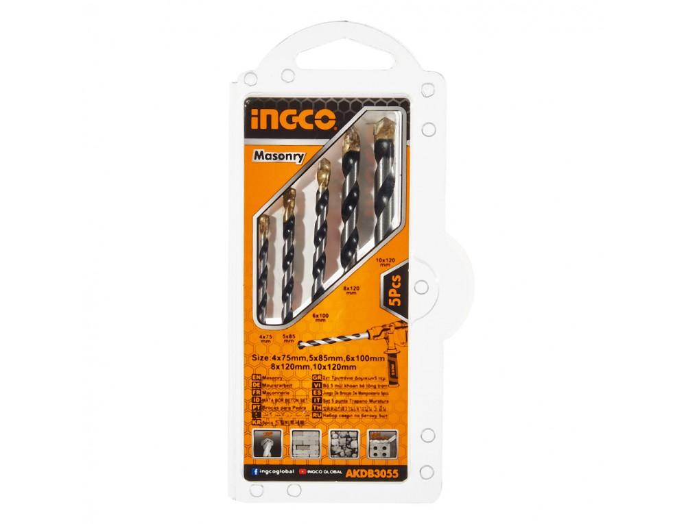 Набір свердел по цеглі/бетону 5 шт. 4–10 мм INGCO