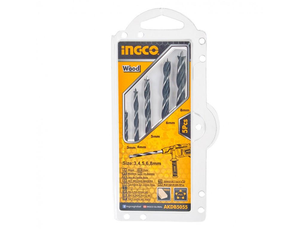 Набір свердел по дереву 5 шт. 3–8 мм INGCO
