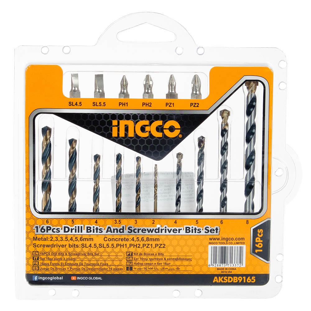 Купить Набір свердел по металу, свердла по бетону, біти 16 шт.  INGCO