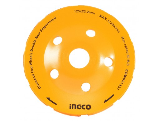 Диск шліфувальний дворядний алмазний чашковий 125 мм INGCO
