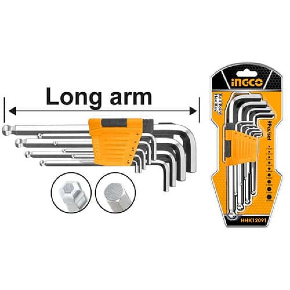 Купить Набір шестигранних ключів із кулею 9 шт. 1,5–10 мм INGCO