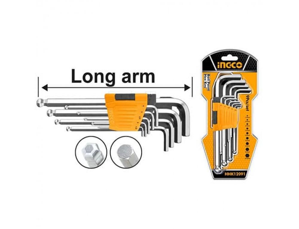 Набір шестигранних ключів із кулею 9 шт. 1,5–10 мм INGCO
