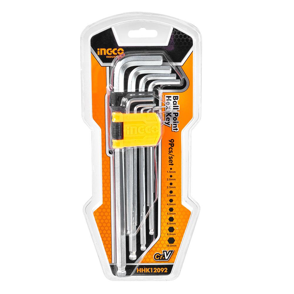 Купить Набір подовжених шестигранних ключів із кулею 9 шт. 1,5–10 мм INGCO