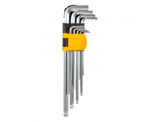 Набір подовжених шестигранних ключів із кулею 9 шт. 1,5–10 мм INGCO