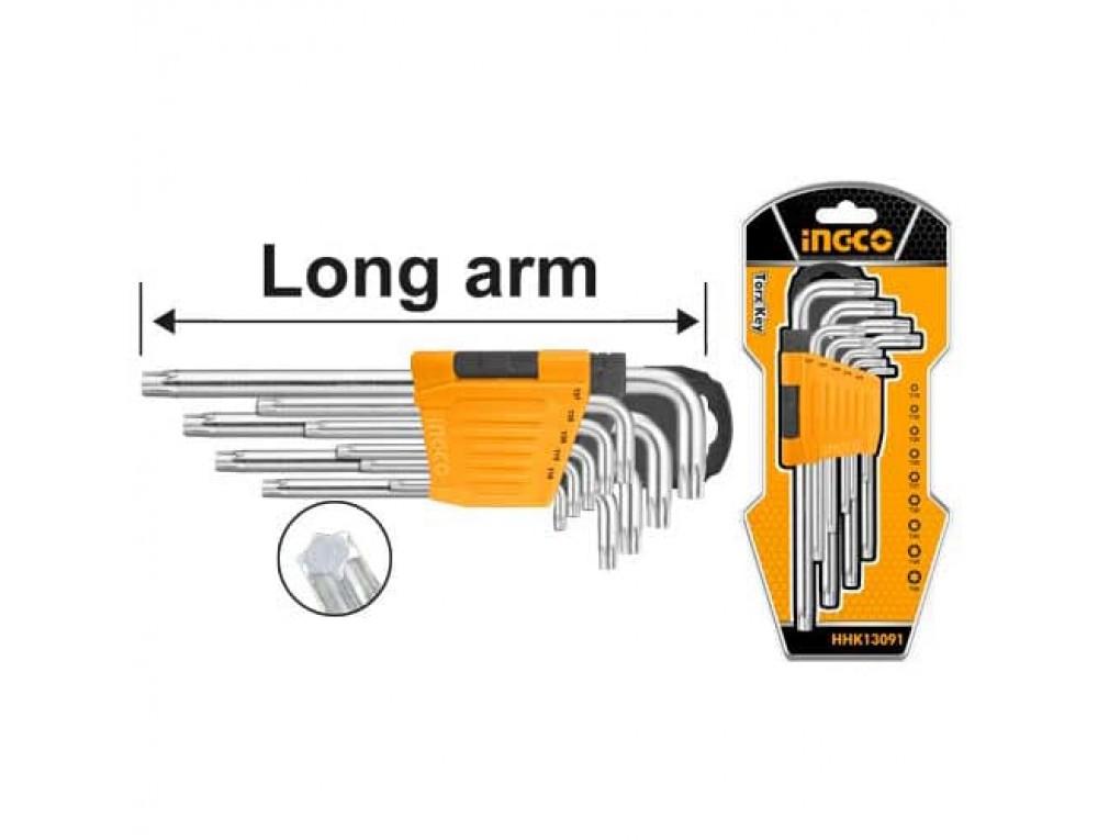 Комплект ключів Torx 9 шт. Т10-Т50 INGCO