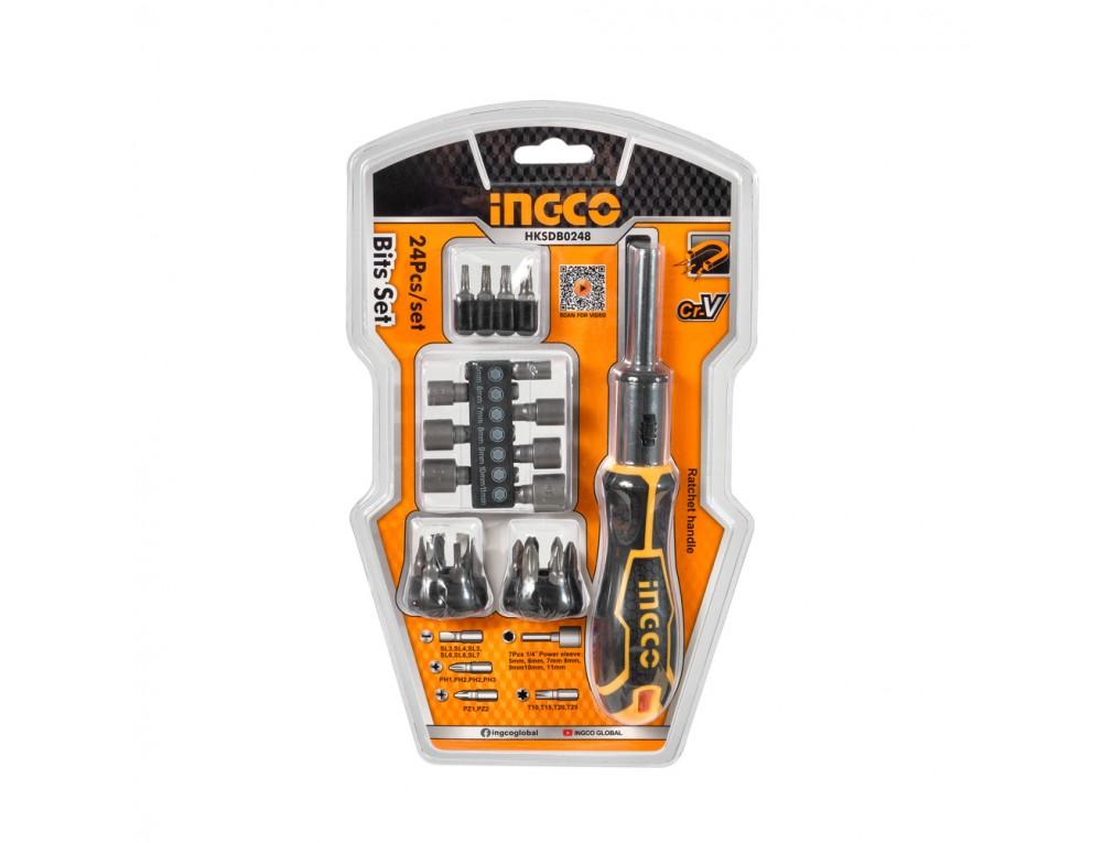 Викрутка-тріскачка з бітами та головками INGCO