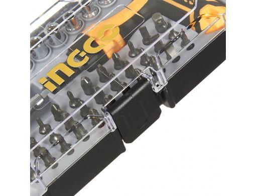 Викрутка Т-подібна з набором насадок і головок 47 од. INGCO