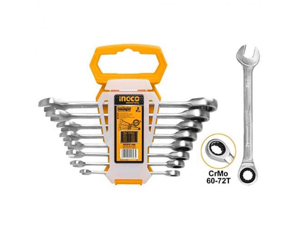 Набір комбінованих храпових гайкових ключів 8–19 мм INGCO INDUSTRIAL