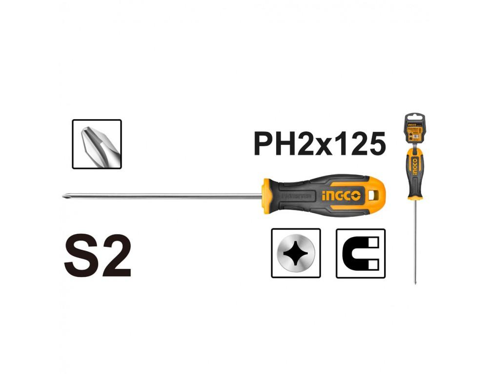 Викрутка хрестова S2 PH2×125 мм INGCO INDUSTRIAL
