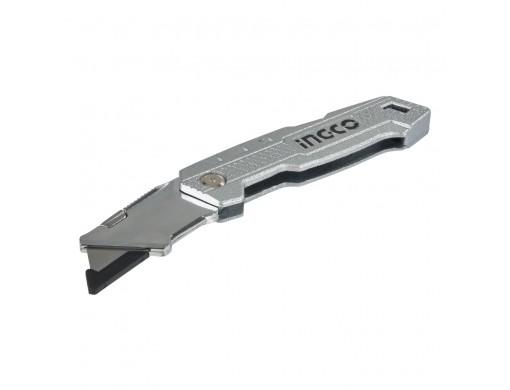 Ніж складаний алюмінієвий, 5 лез трапеція SK5 INGCO
