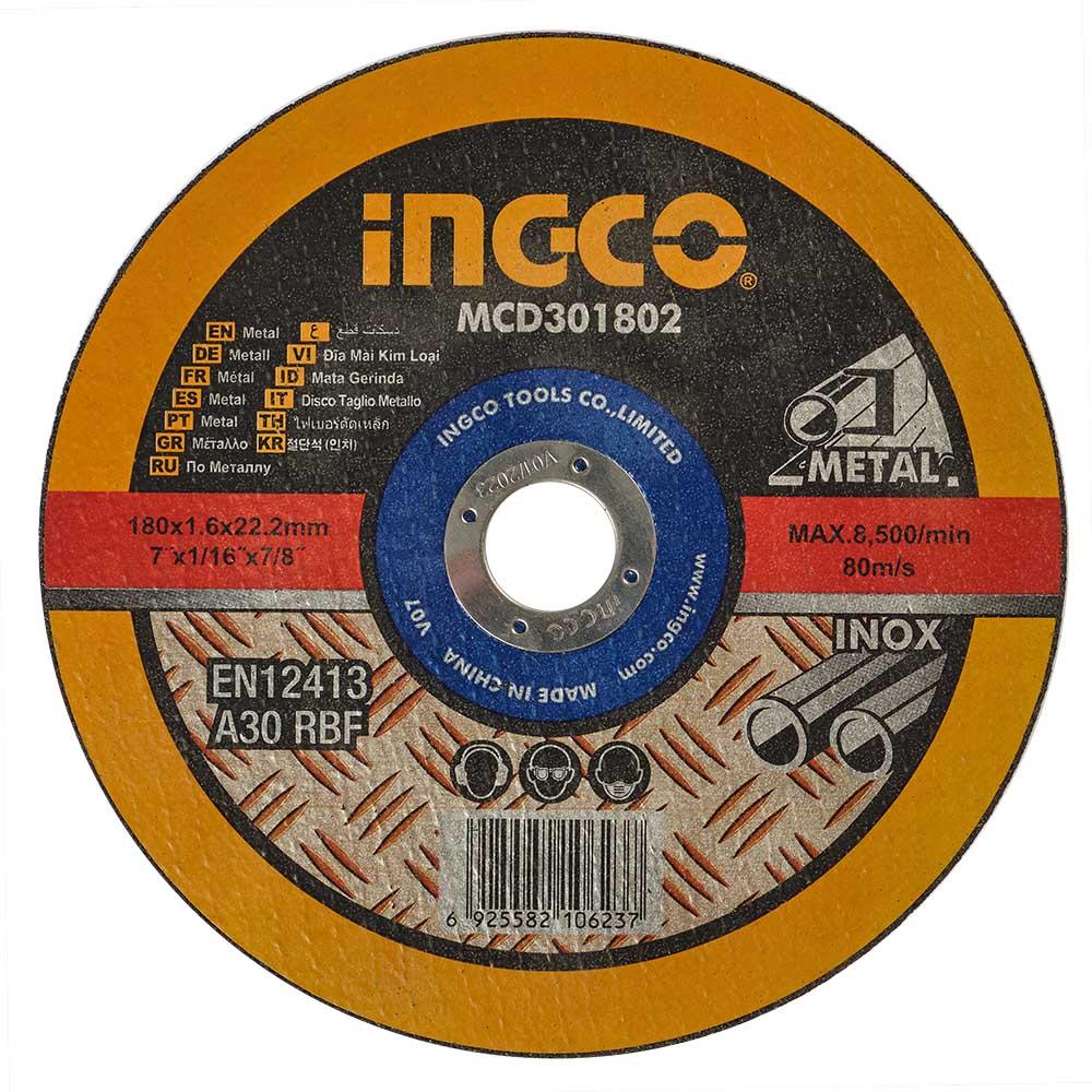 Купить Абразивний відрізний диск по металу 180×1,6×22,2 мм INGCO