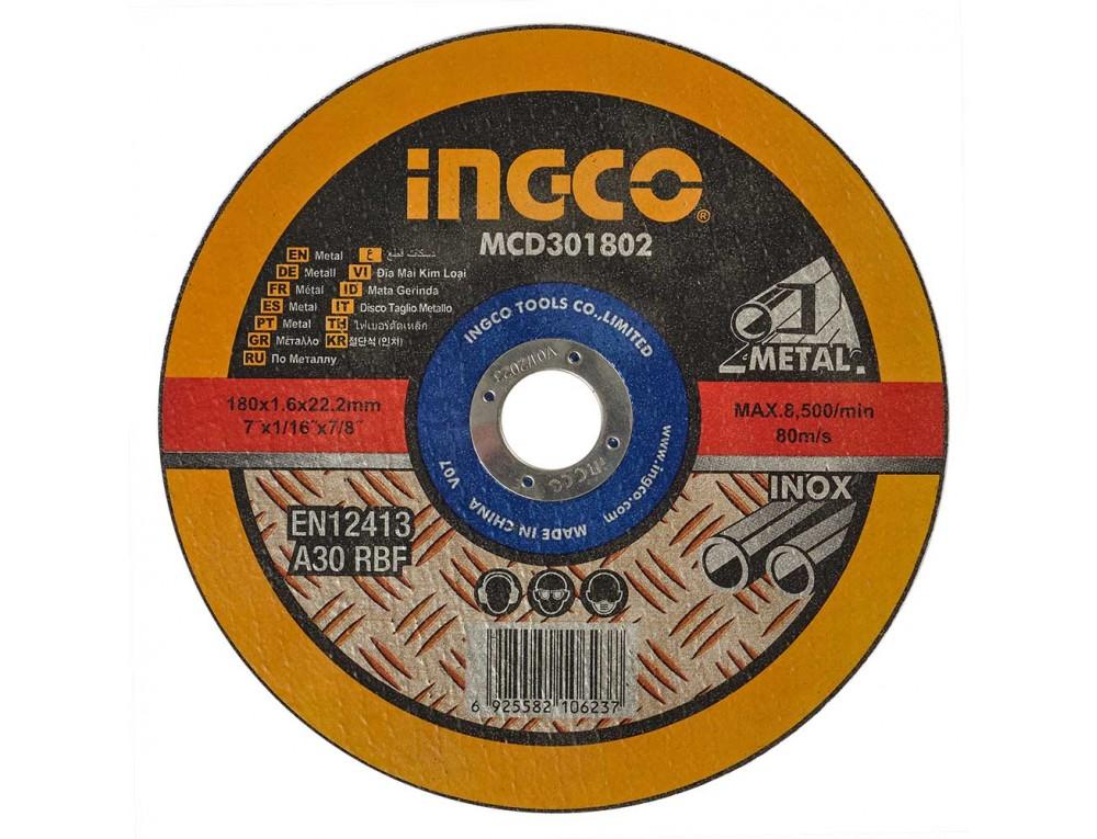 Абразивний відрізний диск по металу 180×1,6×22,2 мм INGCO