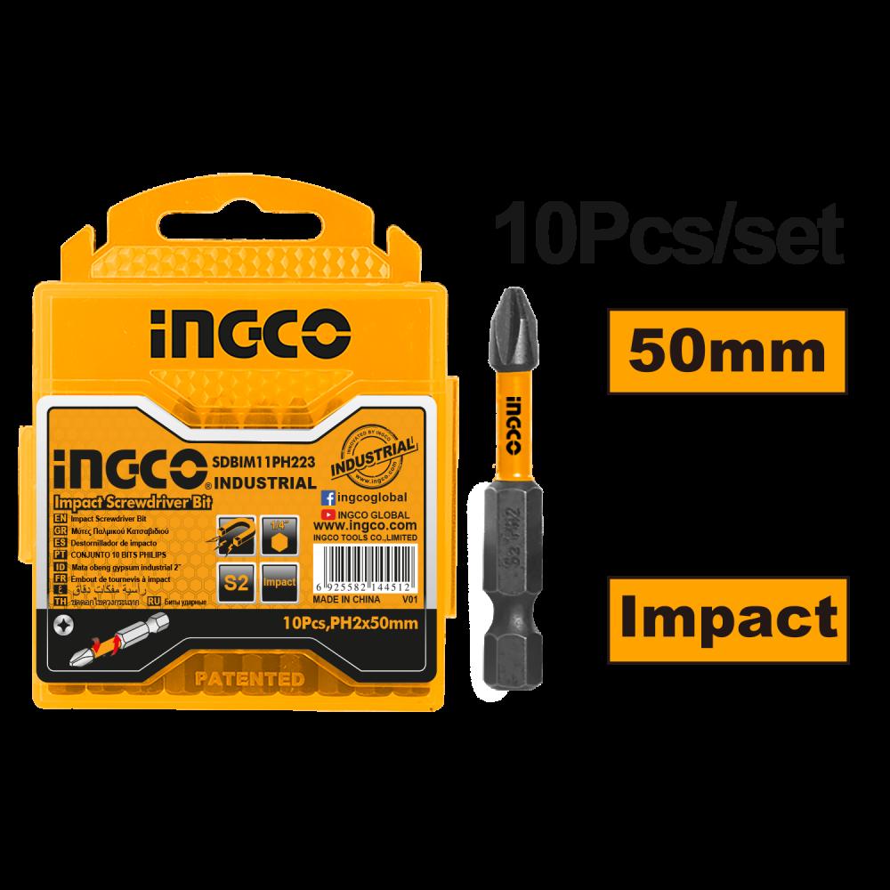 Купить Біти ударні S2 PH2×50 мм, 10 шт. INGCO INDUSTRIAL